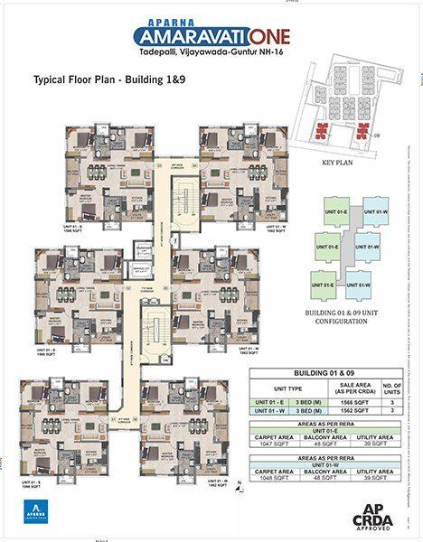 Aparna Amaravati one Building vijayawada 1 and 9 floor plan