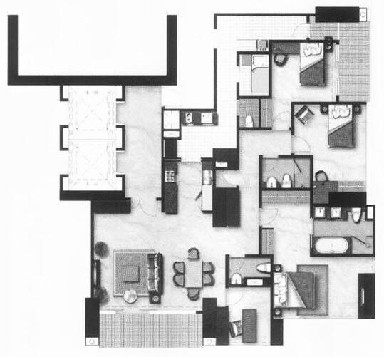 Floor Plan Apartemen District 8 Tower Infinity Tipe 3 BR