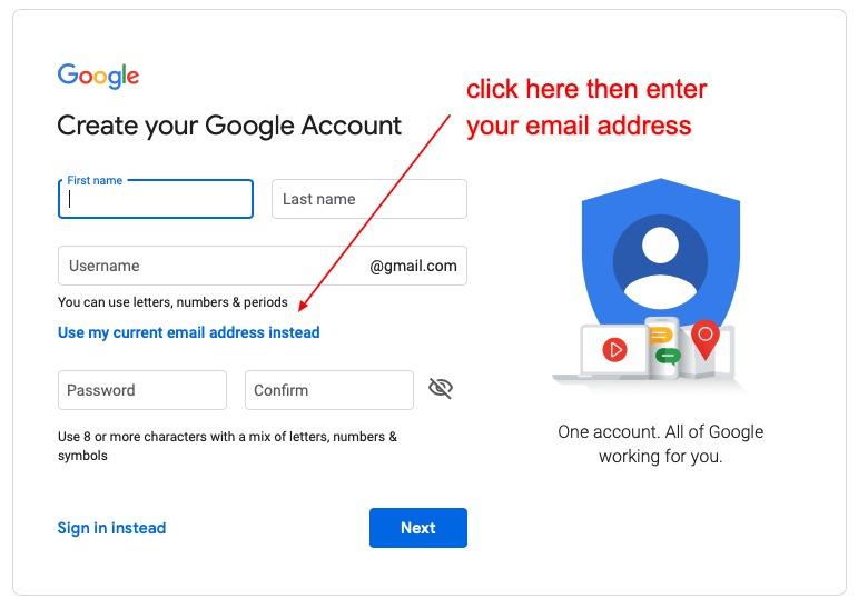 setup google account with custom email