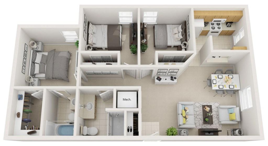 3D apartment floor plan