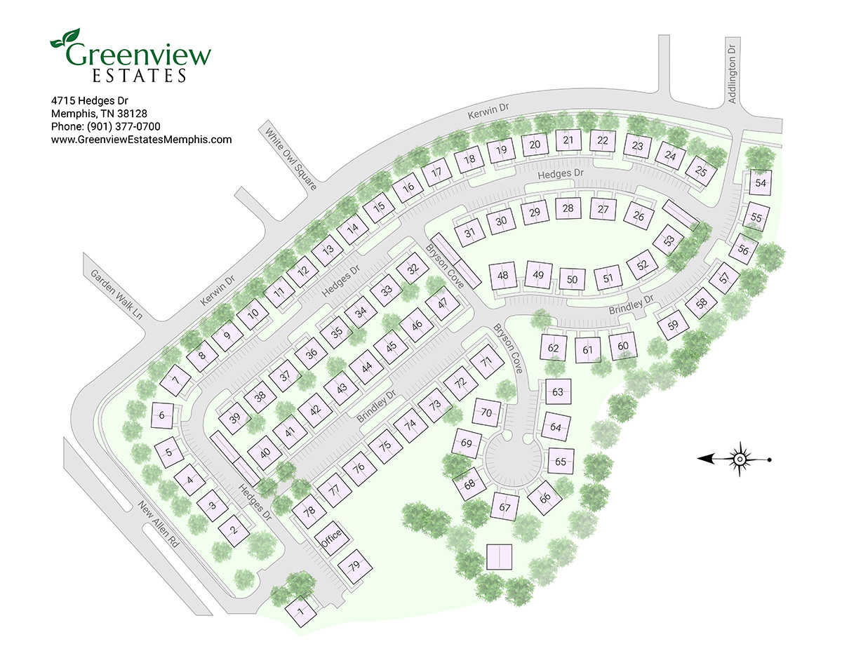 Greenview Estates in Memphis site map after