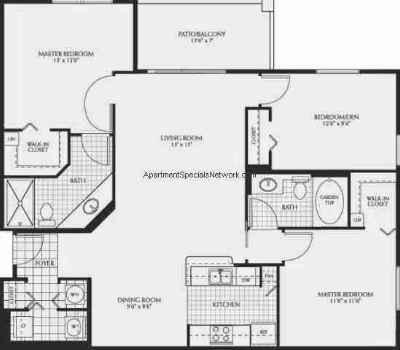 coral springs apartment rental cs139 - 3 bedroom floor plans