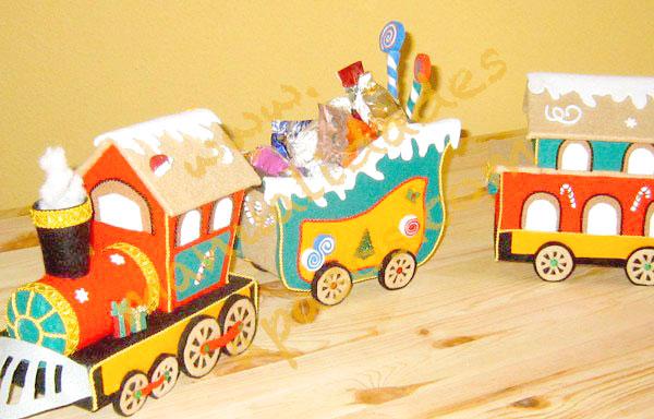 tren de navidad en fieltro