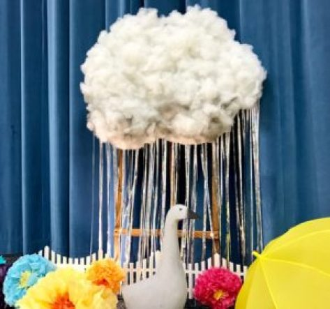 tissue flowers, cloud guy, spring vignette, relief society birthday
