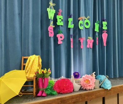 relief society birthday, tissue flowers, bright decorations, spring vignette