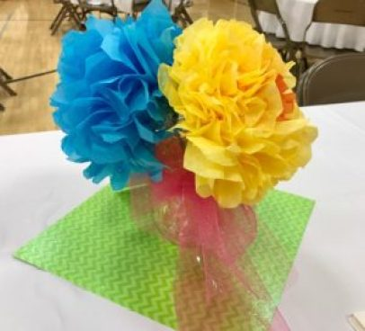 tissue flowers, cloud guy, spring vignette, relief society birthday table decoration