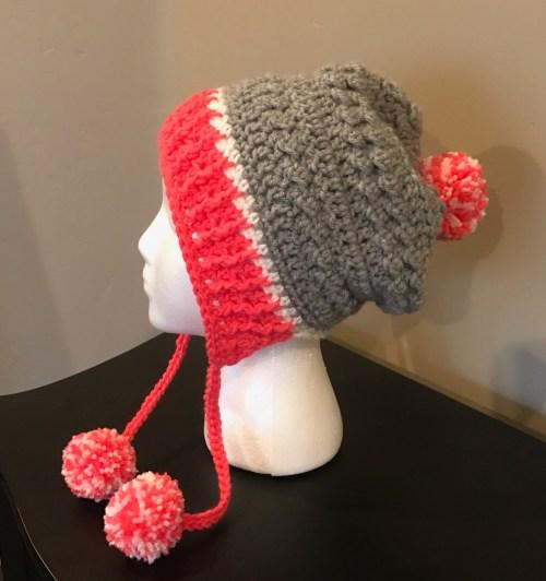 Little Miss Pom Pom Hat -- FREE crochet pattern -- Red Heart pattern --