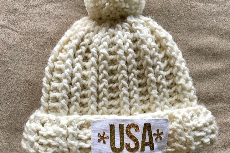 Halfpike Gold Beanie, Celebrate Chloe Kim's Gold Medal, Free Crochet Pattern, Quick pattern using Bulky yarn