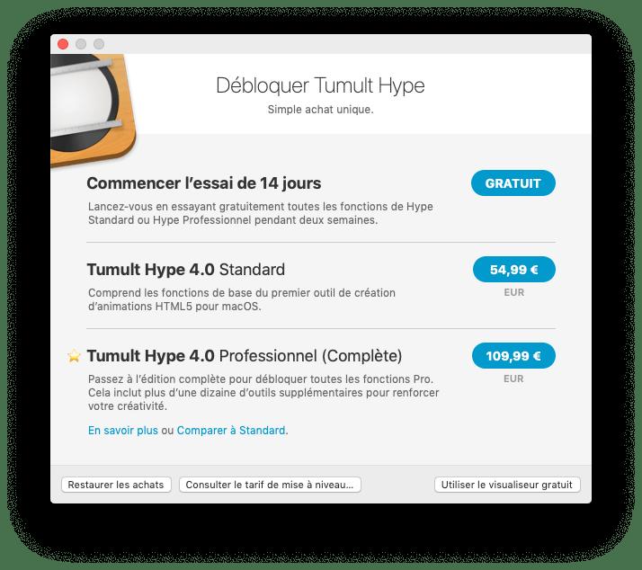Tarifs de la nouvelle version de Hype Pro 4