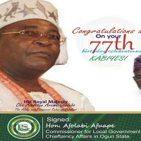 Hon. Afolabi Afuape rejoices with Oba Adedotun Aremu Gbadebo on his 77th Birthday Celebration
