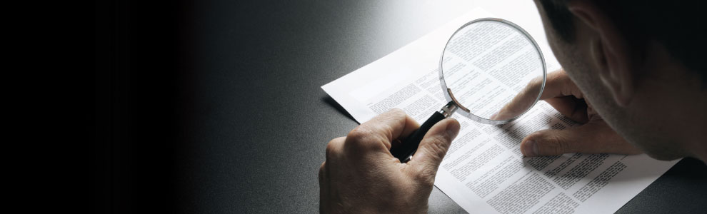 Person reviewing a document