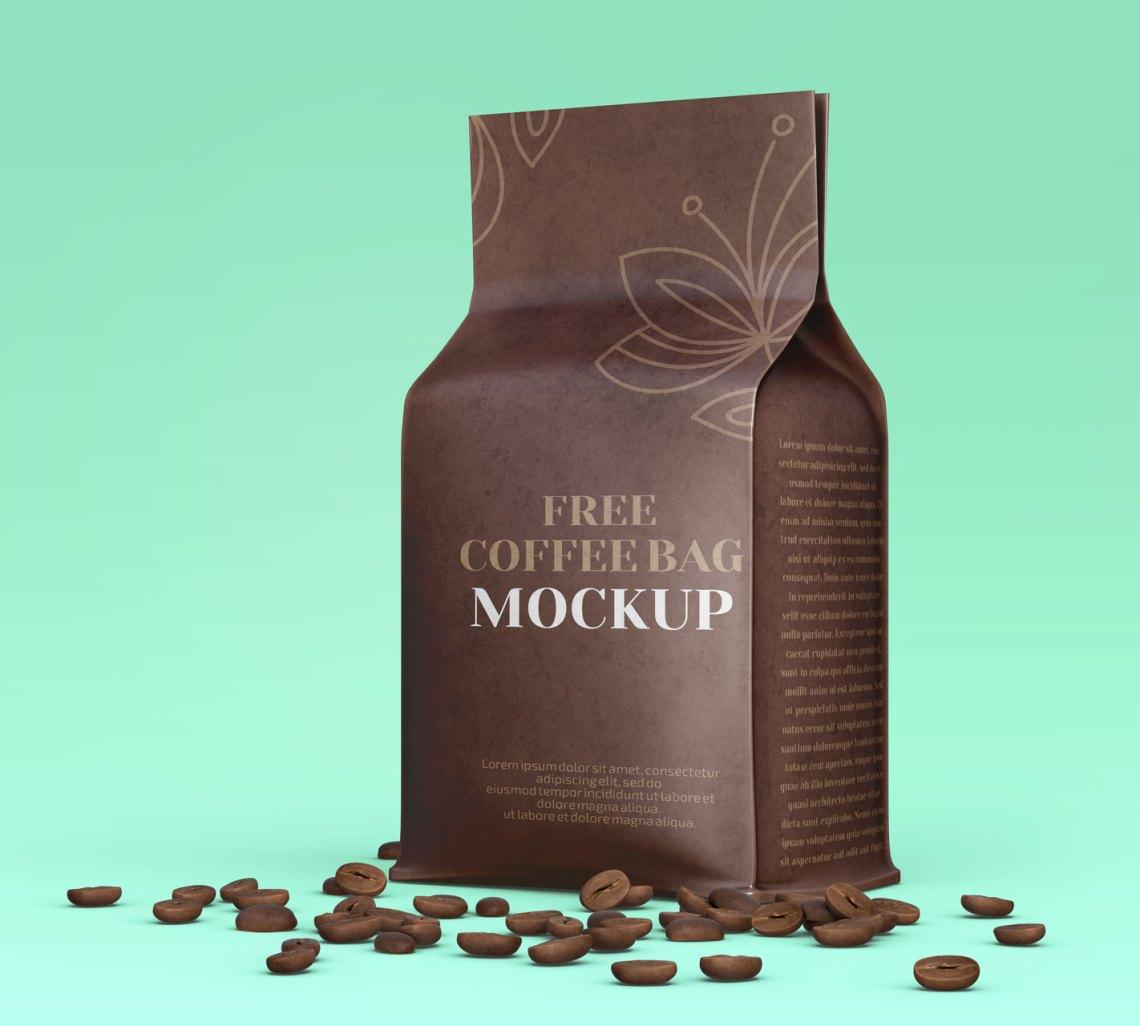 Download Free Flat Bottom Brown Kraft Coffee Bag Packaging Mockup ...