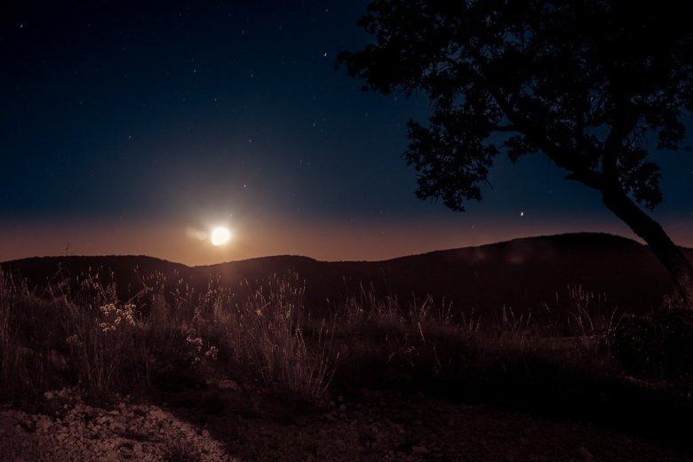 Moonrise Illuminates The Stars In The Sky