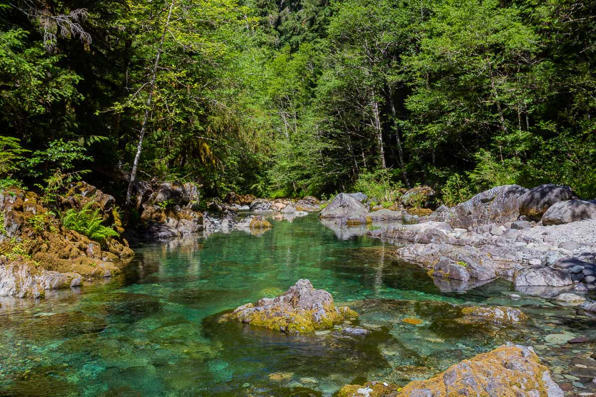 Crystal clear water on the Opal Creek Hiking Trail In Oregon