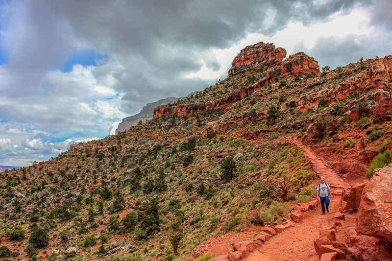 Diagonal Lines of man hiking the Grand Canyon