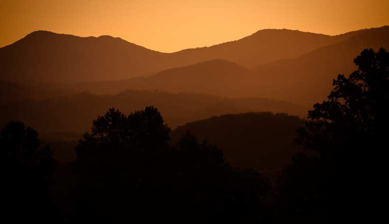 Golden Hour silhouette in the Great Smoky Mountains