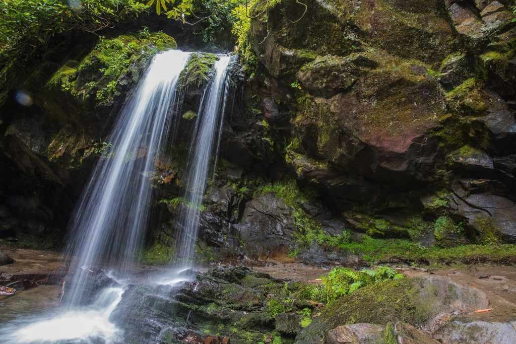 Long shutter speed creates flowy water look at Grotto Falls