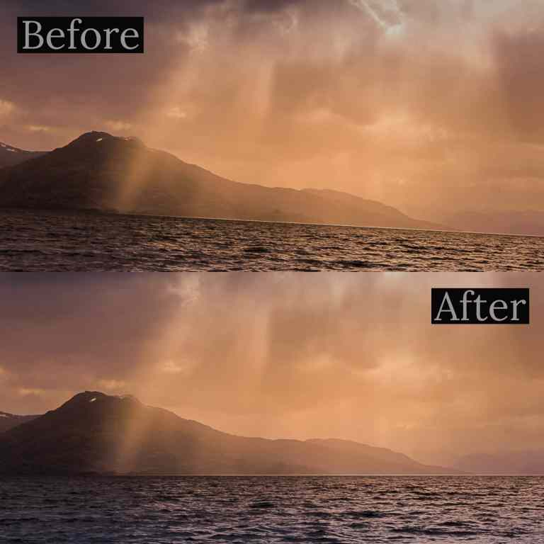 Before and after comparison of corrected crooked horizon line of the sun rising in the mountains