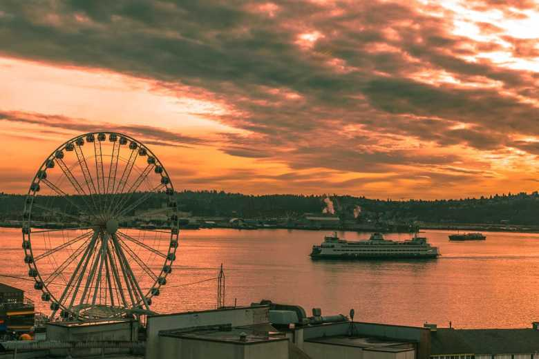 Elliot Bay in Seattle At Sunset