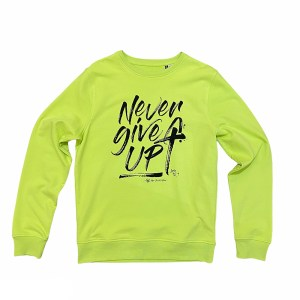felpa never give up lime girocollo