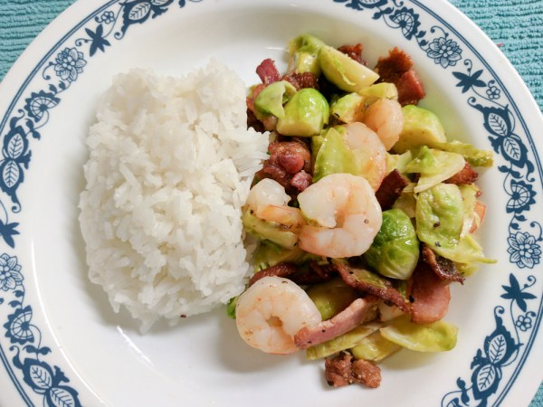 Brussel Sprouts with Shrimp and Bacon
