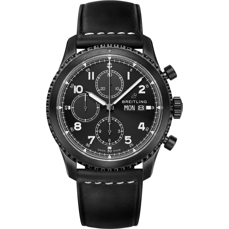 Navitimer 8 Chronograph Blacksteel with black dial and black leather strap