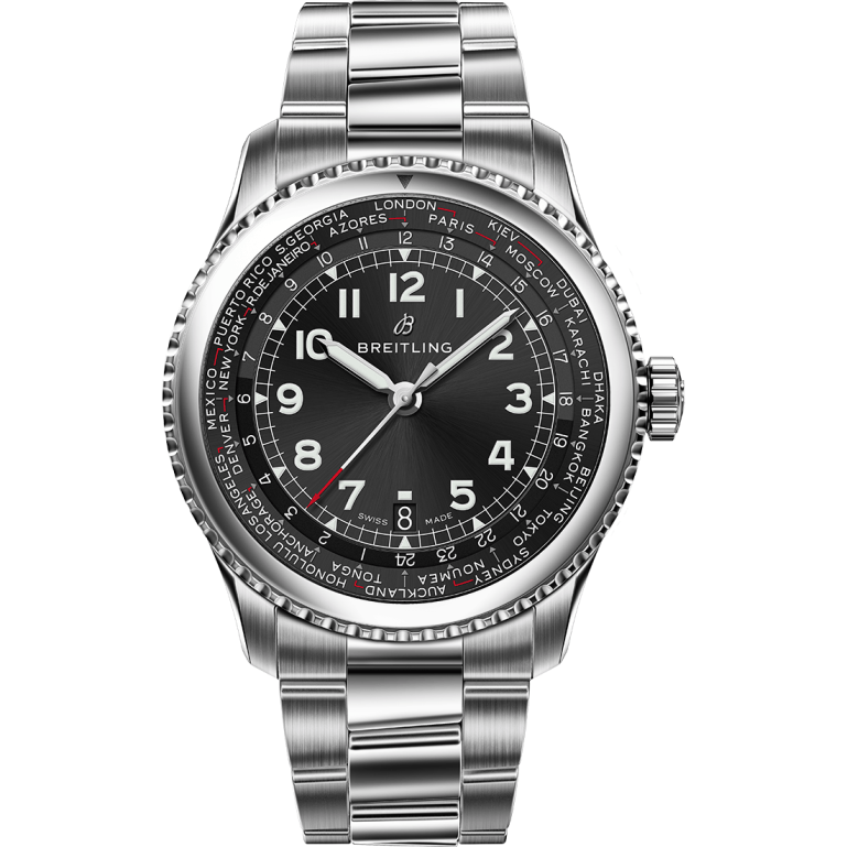 Navitimer 8 Unitime with black dial and stainless steel bracelet