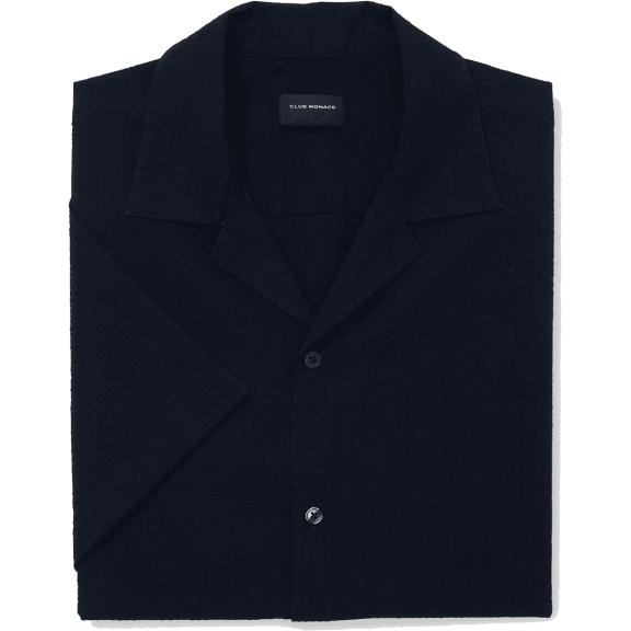 Club Monaco Camp Collar Seersucker Shirt