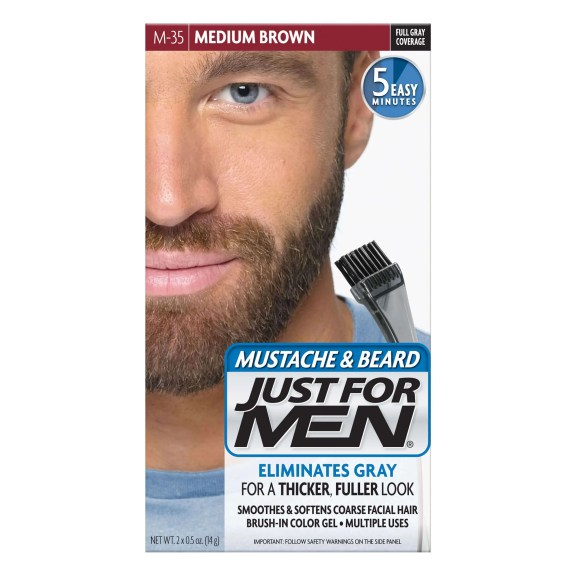 Just For Men Moustache and Beard Brush-In Colour Gel medium brown