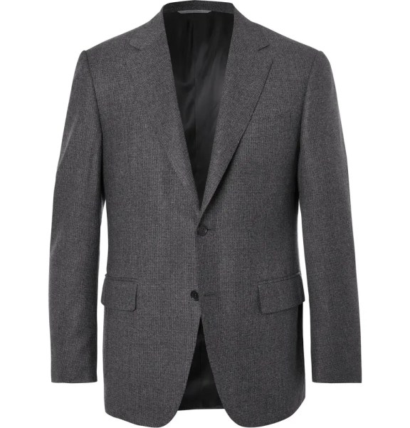 CANALI Grey Slim-Fit Puppytooth Super 120s Wool Suit Jacket £885 >