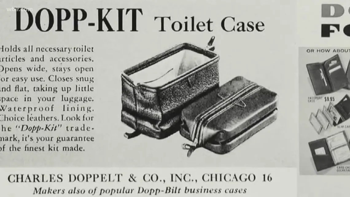 An original 1948 black and white print advert for the Dopp Kit Toilet Case by Charles Doppelt