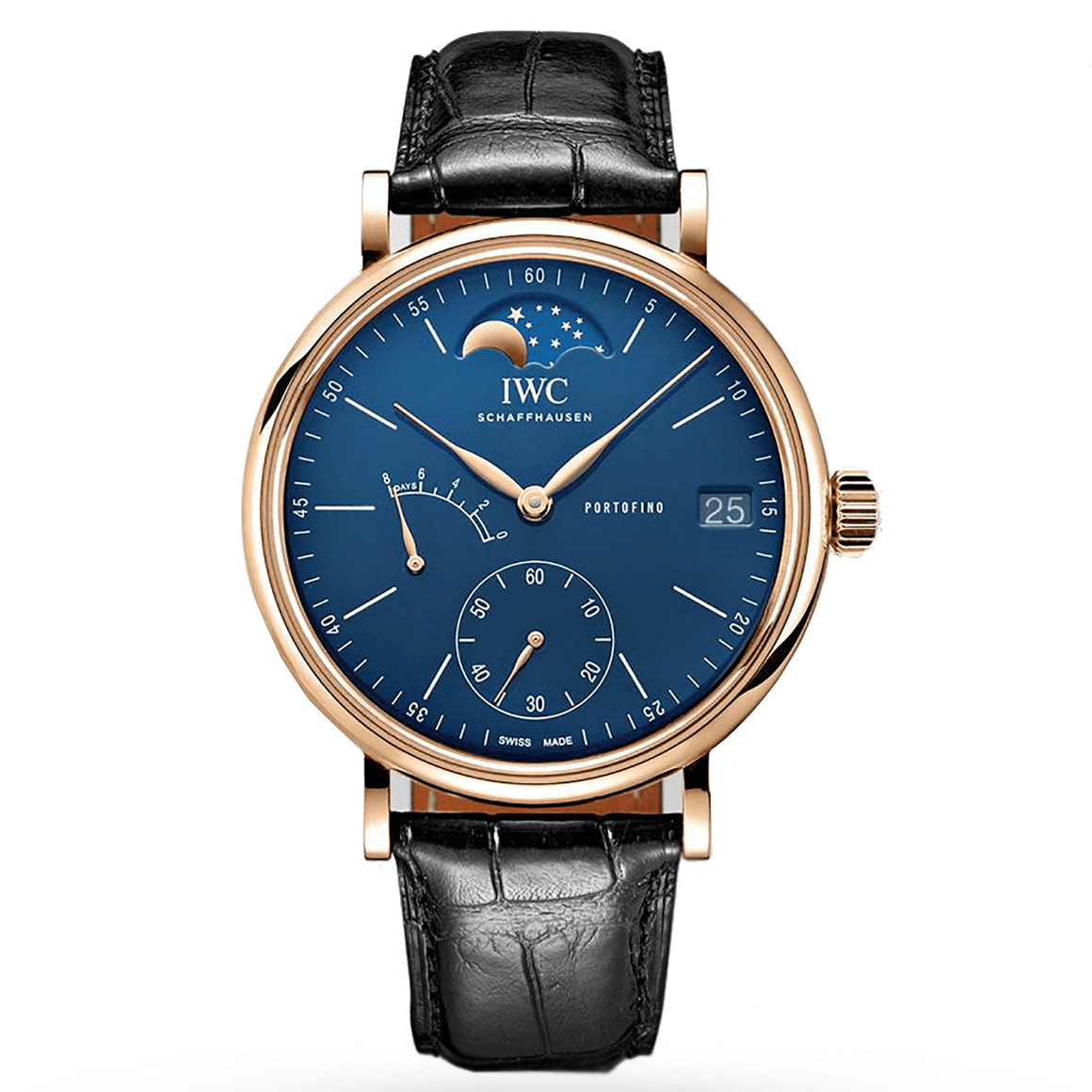 Men's IWC Portofino Hand-Wound Moon Phase 150 Years rose gold and blue watch