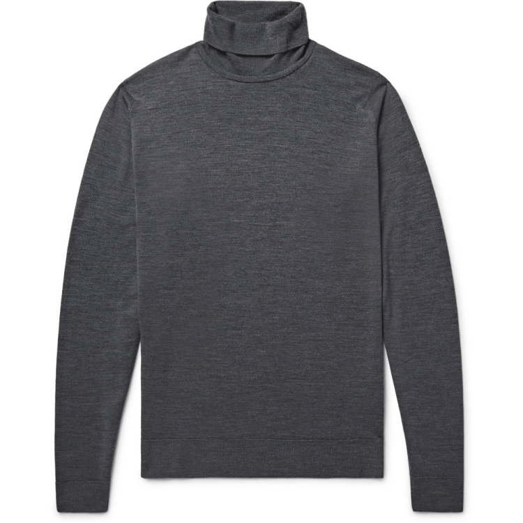 John Smedley Cherwell Merino Wool Rollneck Sweater in Charcoal