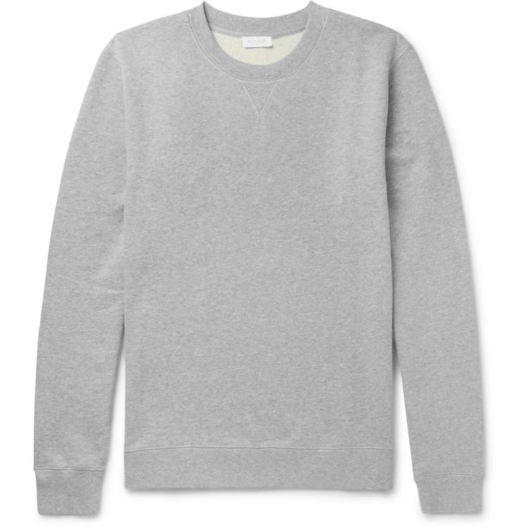 Sunspel Brushed Loopback Cotton-Jersey Sweatshirt in Grey