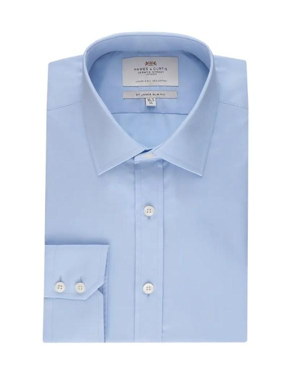 Hawes & Curtis Men's Formal Blue Poplin Slim Fit Shirt - Single Cuff - Easy Iron £49 >