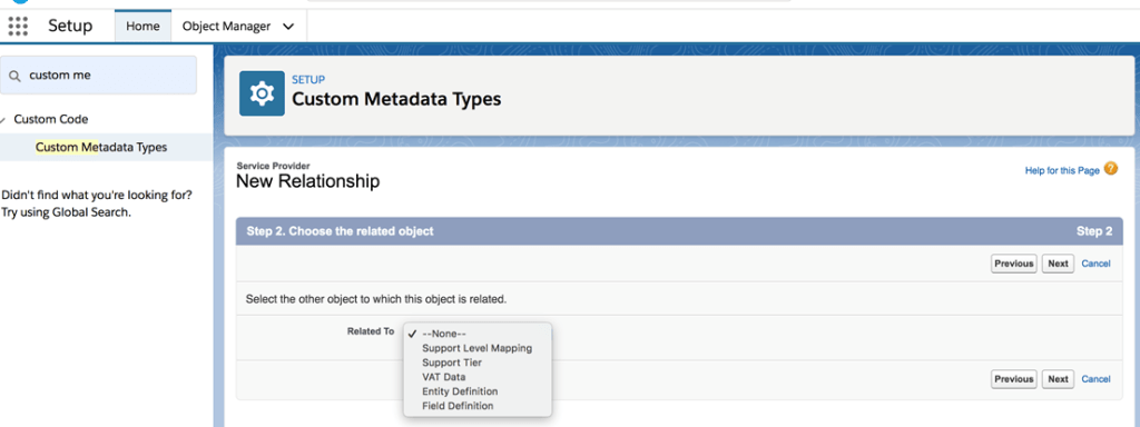 Custom Metadata Relationships