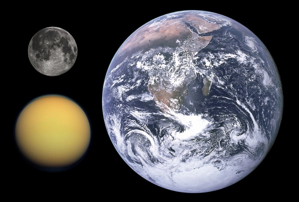 Titan, Moon and Earth