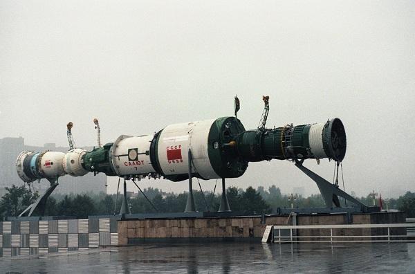 Salyut 7 and two Soyuz capsules