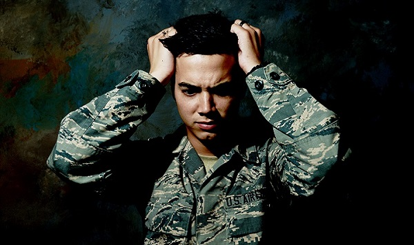 Stressed out US soldier