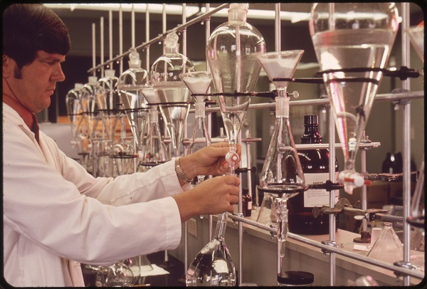 Scientist in a laboratory testing water samples