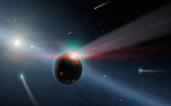 asteroids and comets heading towards a planet