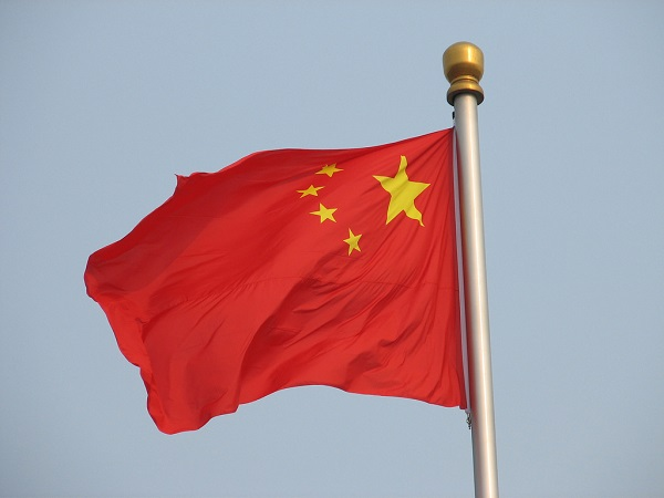 red flag of china billowing in the wind