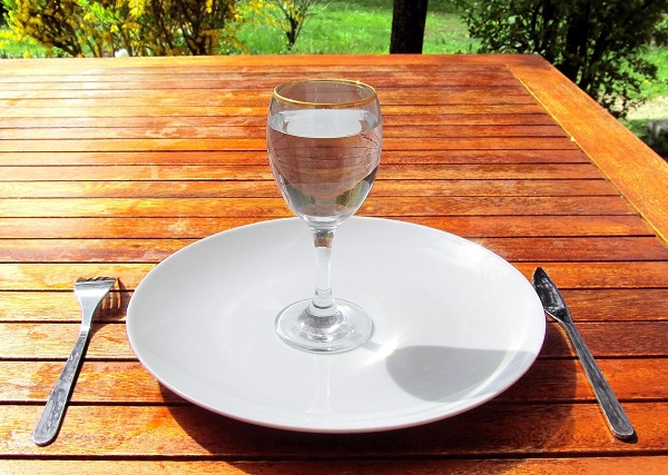 Glass of water on empty plate