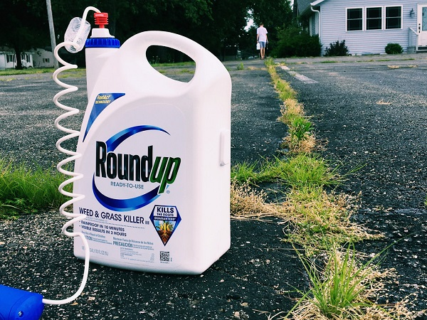 Bottle of Roundup on asphalt