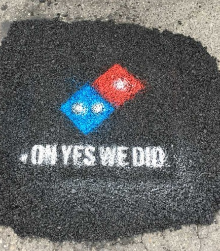 Pothole filled by Domino's Pizza