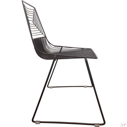 black wire dining chairs side view