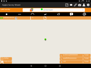 Apglos Survey Wizard screen with the start point of the straight line