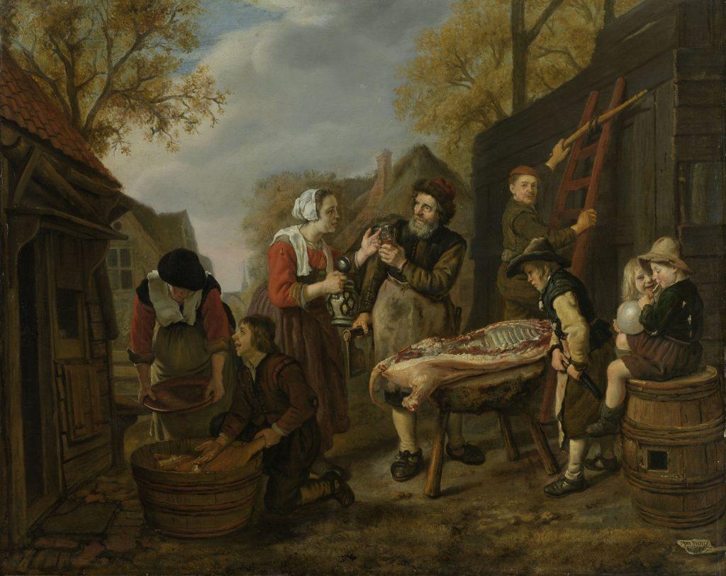 De varkensslachter, Jan Victors, 1648 (Rijkmuseum)