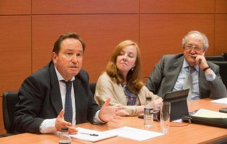 Fermín Yébenes durante su intervención en la VI jornada del Curso de Economía para Periodistas Organizado por APIE. A su lado, Amparo Estrada, de la Junta Directiva de APIE, y Fabián Márquez.