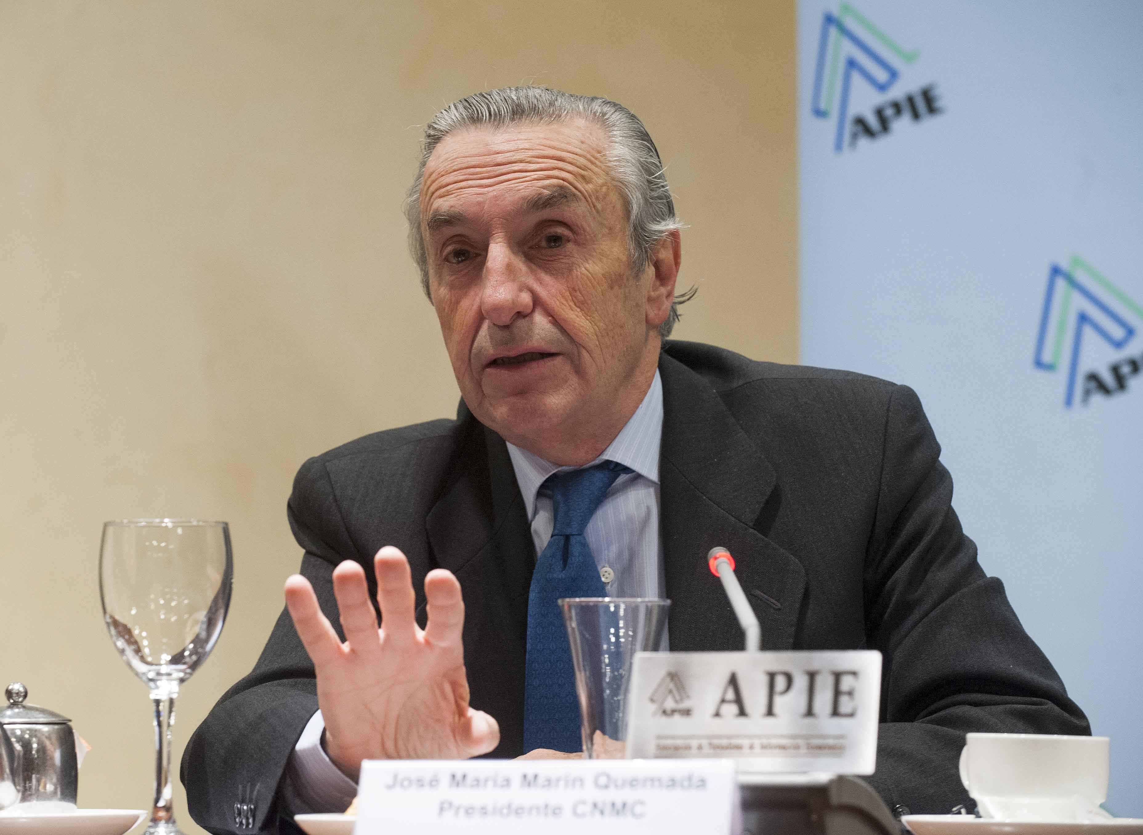 Jose María Marín Quemada, Presidente de la CNMC, durante el desayuno de prensa organizado por APIE.